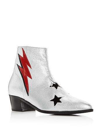 Modern Vice - Women's Cutout Bolt Leather Embellished Booties