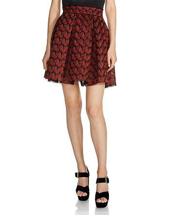 Maje - Julian Pleated Jacquard Skirt