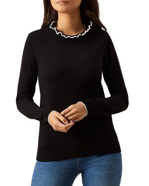 Hobbs London Tanya Ruffled-Collar Sweater