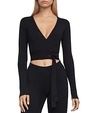 Bcbgmaxazria Emily Knit Wrap Crop Top at Bloomingdale's