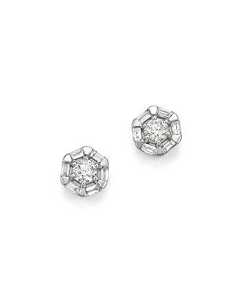 Bloomingdale's - Diamond Round & Baguette Stud Earrings in 14K White Gold, .50 ct. t.w. - 100% Exclusive