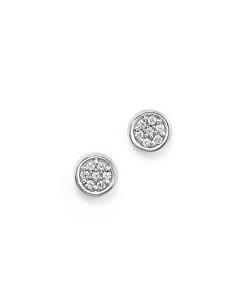 Bloomingdale's - Diamond Bezel Set Small Stud Earrings in 14K White Gold, .10 ct. t.w. - 100% Exclusive