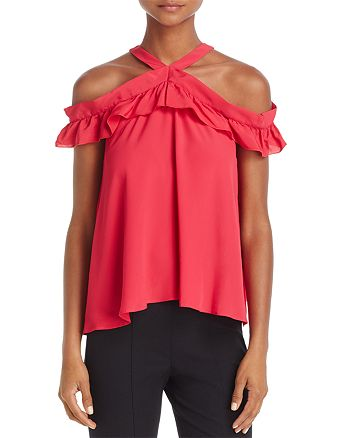 Boutique Moschino - Cold-Shoulder Ruffled Silk Top
