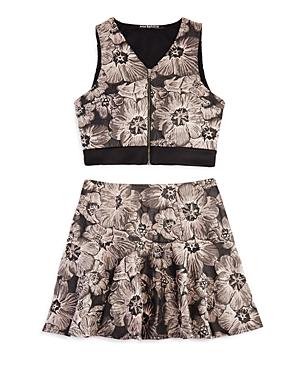 5ad9e05799f Miss Behave Girls  Floral Zip-Up Top   Skirt Set - Big Kid