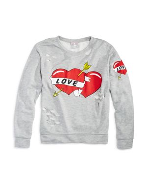Flowers by Zoe Girls' Distressed Love Sweatshirt - Big Kid