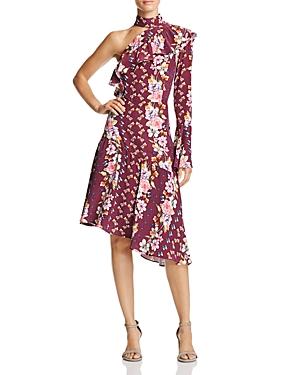 Parker Rine Ruffled Floral-Print One-Shoulder Silk Dress