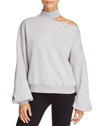 VINCE CAMUTO - Single Cold-Shoulder Balloon Sleeve Sweatshirt
