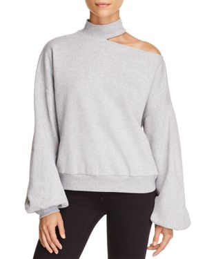 Vince Camuto Single Cold-Shoulder Balloon Sleeve Sweatshirt