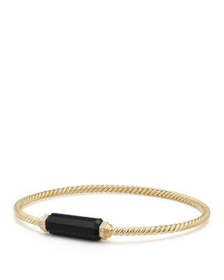 Barrels Bracelet With Diamonds & Black Onyx In 18K Gold