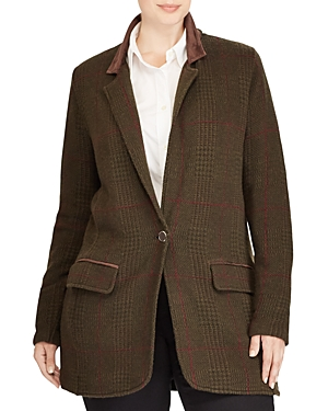 Lauren Ralph Lauren Plus Plaid Knit Blazer