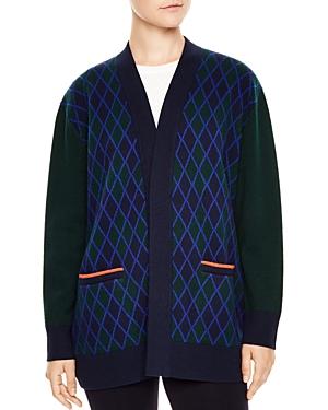 Sandro Clara Check-Pattern Just Love U Wool Cardigan