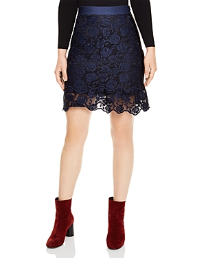 Sandro Dee Rose-Pattern Lace Skirt