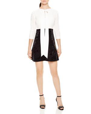 Sandro Danika Sash-Tie Velvet-Skirt Mini Dress