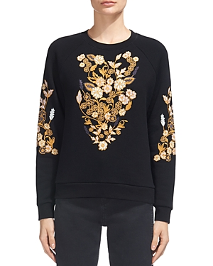 Whistles Belize Floral-Embroidery Sweatshirt