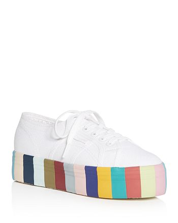 Superga - Women s Lace Up Rainbow Platform Sneakers