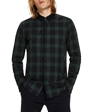 Scotch & Soda Plaid Contrast Long Sleeve Button-Down Shirt