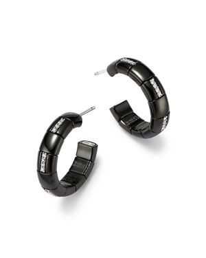 Roberto Demeglio 18K White Gold & Black Ceramic Pura Alternating Diamond Hoop Earrings