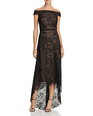 Tadashi Shoji Off-the-Shoulder Lace High/Low Gown