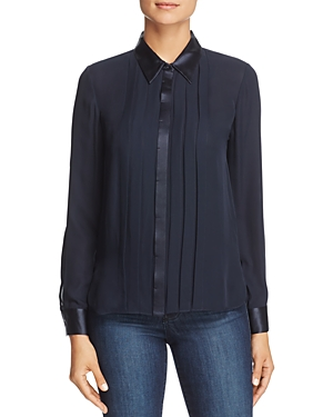 Elie Tahari Izarra Pleat-Front Silk Top
