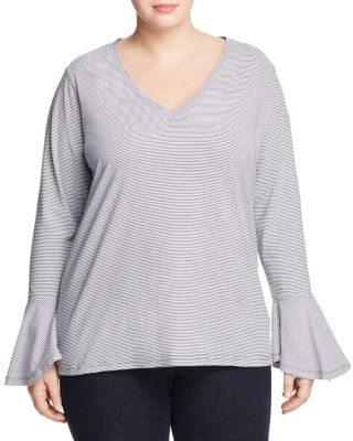 City Chic  BELL SLEEVE STRIPE TOP
