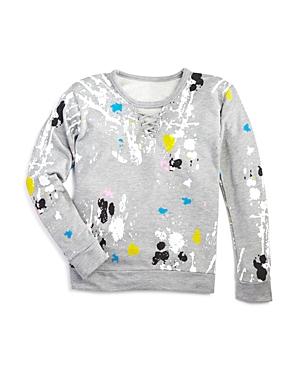 Flowers by Zoe Girls' Paint-Splattered Lace-Up Sweatshirt - Big Kid