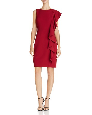 $Adrianna Papell Side-Ruffle Dress - Bloomingdale's