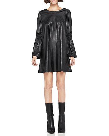BCBGeneration - Smocked Faux-Leather Shift Dress