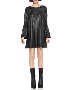 BCBGeneration Smocked Faux-Leather Shift Dress