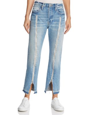 LE ORIGINAL ZIP-EMBELLISHED FRAYED HIGH-RISE STRAIGHT-LEG JEANS