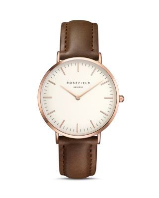 Bowery Leather Strap Watch, 38Mm, Brown