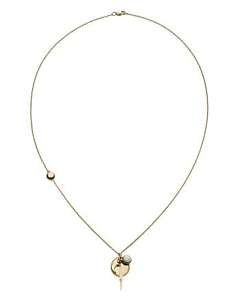 """Shinola - 14K Yellow Gold Bolt & Opal Clustered Pendant Necklace, 20"""""""