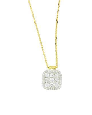 FREDERIC SAGE 18K YELLOW & WHITE GOLD DIAMOND FIRENZE MEDIUM CUSHION PENDANT NECKLACE, 18