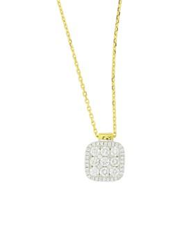 "Frederic Sage - 18K Yellow & White Gold Diamond Firenze Medium Cushion Pendant Necklace, 18"""