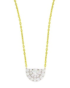 """Frederic Sage 18K White & Yellow Gold Small Deco Half Moon Diamond Pendant Necklace, 16"""" - Bloomingdale's_0"""