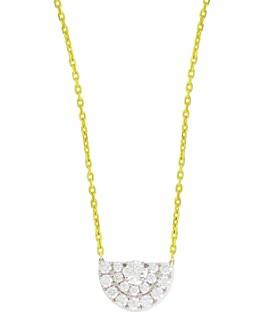 "Frederic Sage - 18K White & Yellow Gold Small Deco Half Moon Diamond Pendant Necklace, 16"""