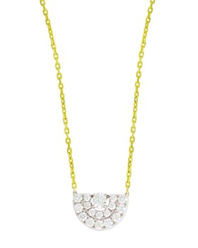 Frederic Sage - 18K White & Yellow Gold Small Deco Half Moon Diamond Pendant Necklace, 16""