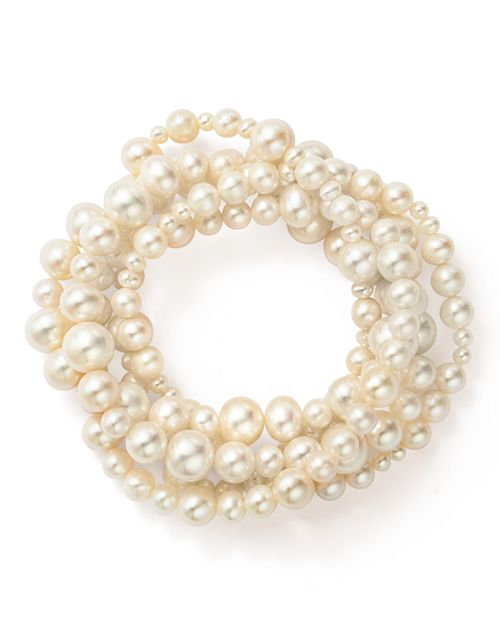 Bloomingdale's - Cultured Freshwater Pearl Intertwined Five Row Stretch Bracelet, 3-8mm - 100% Exclusive