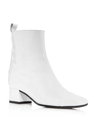 CAREL Women'S Estime Patent Leather Block Heel Booties in White