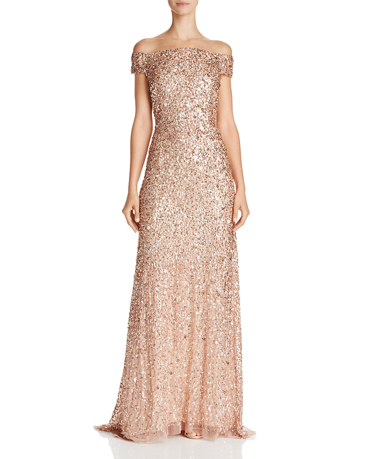 Adrianna Papell Off The Shoulder Sequined Gown Bloomingdales