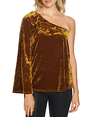 1.state One Sleeve Crushed Velvet Top
