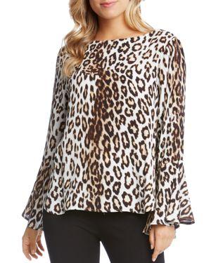 Karen Kane Leopard Print Bell Sleeve Blouse