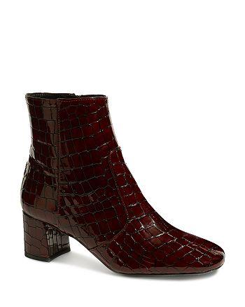 KAREN MILLEN - Women's Croc-Embossed Patent Leather Booties