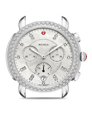 Sidney Chrono Diamond Diamond Dial Watch Case, 38Mm in Silver/ Mop