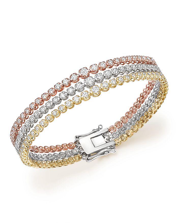 Bloomingdale's - Diamond Graduated Triple Row Tennis Bracelet in 14K Gold, 4.0 ct. t.w. - 100% Exclusive
