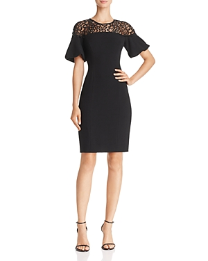 Adrianna Papell Lace-Yoke Textured Crepe Dress