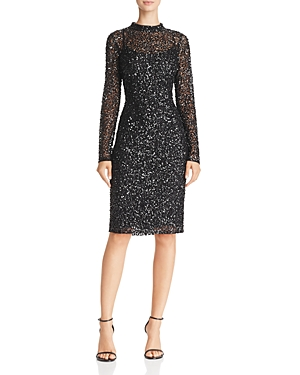 Adrianna Papell Mock-Neck Sequin Dress