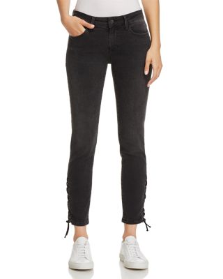 ADRIANA ANKLE SKINNY LACE-UP JEANS IN SMOKE LACE