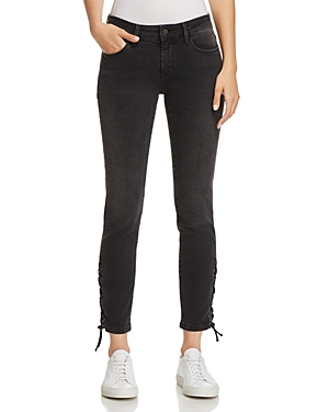 Mavi Adriana Ankle Skinny Lace-Up Jeans in Smoke Lace