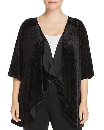 B Collection by Bobeau Curvy - Floral Velvet Cascade Cardigan