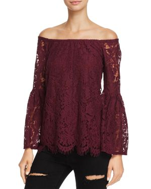 Chaser Off-the-Shoulder Peplum Lace Top